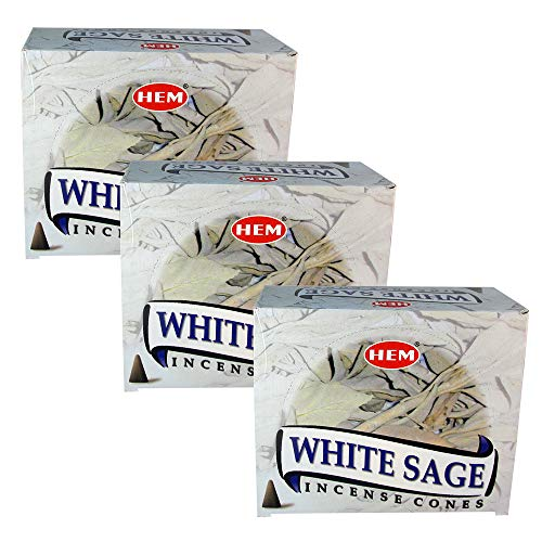 HEM White Sage Pack of 3 Incense Cones Boxes, 10 Cones Each, Fine Quality Handrolled Incense Sticks for Purification, Relaxation, Positivity, Yoga, Meditation, Healing, Soothing, Prayer, Peace (Sage Cones Incense)