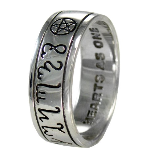 Sterling Silver Handfasting Theban Pentacle Wedding Ring (sz 4-15) sz 4