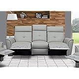 ESF 8501 Recliner Sofa Chic Light Grey Italian Leather Modern