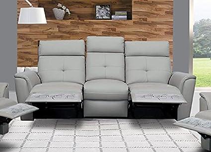 Amazon.com: ESF 8501 Recliner Sofa Chic Light Grey Italian Leather ...