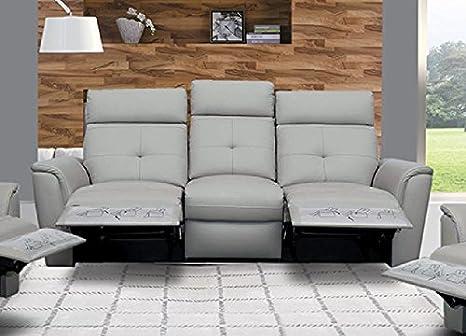 Amazon.com: ESF 8501 Recliner Sofa Chic Light Grey Italian ...