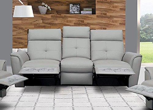 Italian Design Leather Sofa Loveseat - ESF 8501 Recliner Sofa Chic Light Grey Italian Leather Modern