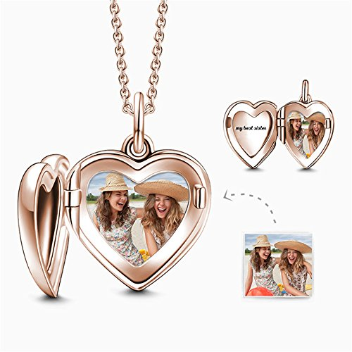 Personalized 925 Sterling Silver Heart Locket Picture Necklace 24K Rose Gold Plated Pendant Custom with Photo Family Memorial Gift