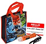 Justice League Reusable Medium Sized Halloween Trick Treat Loot Bag! Featuring Batman, Superman, Green Lantern & The Flash! Plus Bonus Safety First Sticker & Mini Halloween Flashlight Necklace!