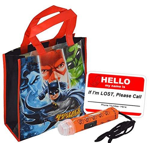 Justice League Reusable Medium Sized Halloween Trick Treat Loot Bag! Featuring Batman, Superman, Green Lantern & The Flash! Plus Bonus Safety First Sticker & Mini Halloween Flashlight Necklace! ()