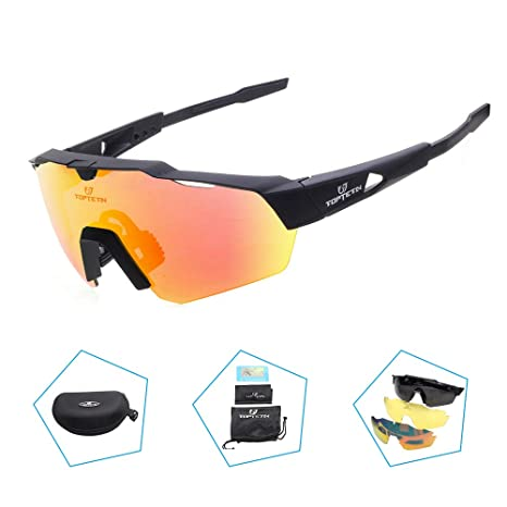 713b21d360d8 TOPTETN Polarized Sports Sunglasses with Interchangeable Lenes for Men  Women Cycling Running Driving Fishing Golf Baseball