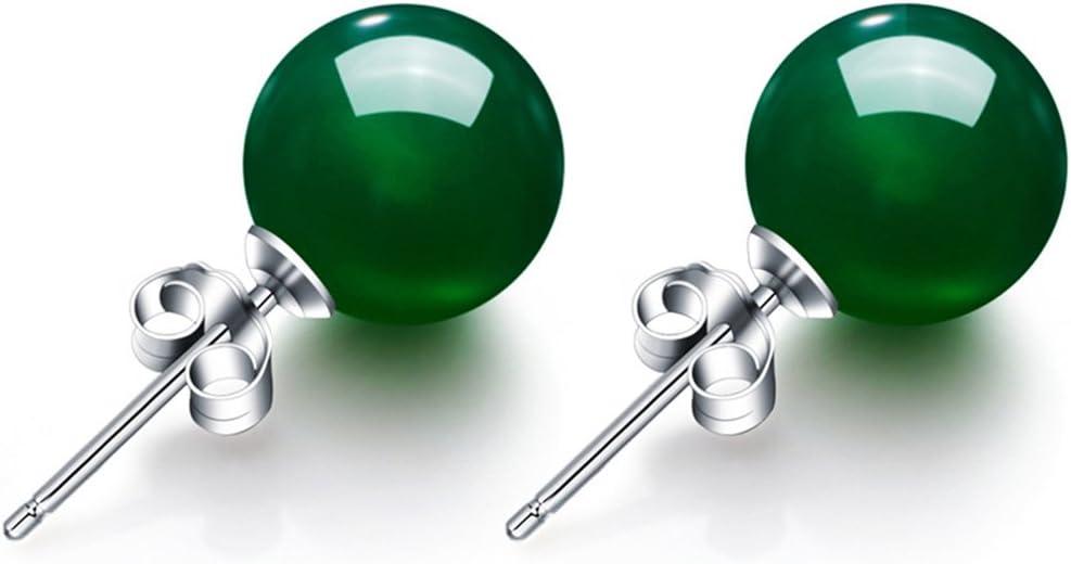 L_shop Ágata Pendientes Bola Perlas Jade Pendientes de Piedras Preciosas Gota Gancho Pendientes Bombilla Bola Pendientes, Verde, Wie es Beschreibung