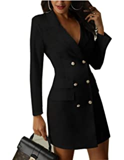 2a2e7da75c9 Asskdan Women s Double Breasted Blazer Dress Lapel Collar Elegant Long  Sleeve OL Blazer Mini Dress