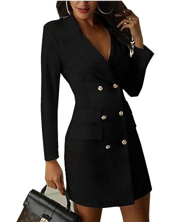 Mit Business Anzug Damen Blazer Blusenkleid Ziyyoohy Knopf Kleider V Minikleid Langarm Ausschnitt 08nwPZNOXk