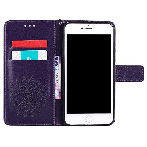 Funda Apple Iphone 6 Plus - Alta Calidad Flip PU Cuero Caso Sol Patrón en Relieve /Stent/Billetera/Con el Sostenedor de Tarjeta/Proteccion Caso Cubrir para Apple Iphone 6 Plus(Rosa) Púrpura