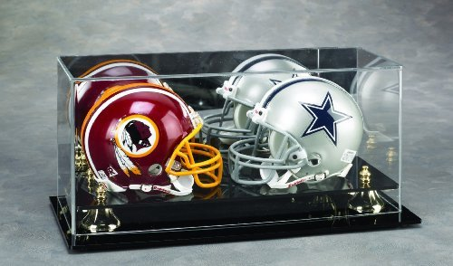 Double Mini Football Helmet Display case Black acrylic base - Display Case Base Football Wood