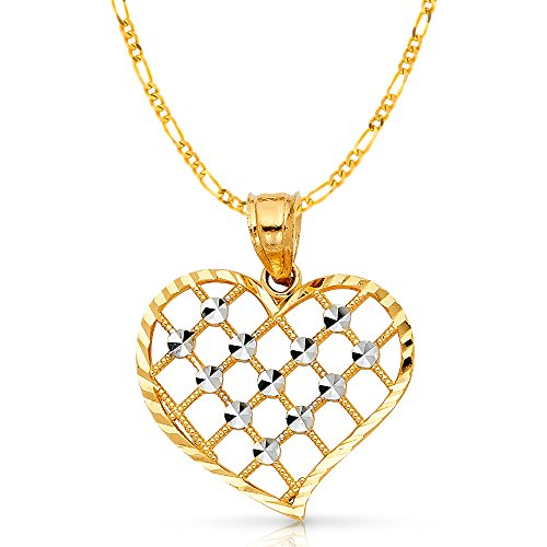 14K Two Tone Gold Fancy Checkered Heart Charm Pendant with 2mm Figaro 3+1 Chain Necklace - 18