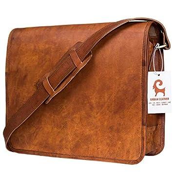Urban Leather Brown Vintage Retro Handmade Leather Messenger Bag for Men  Women with Adjustable Shoulder Strap 0afac07f37176