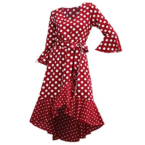 Dresses for Womens,DaySeventh Women Vintage Dots Print Bell Sleeve V Neck Party Dress with Belt