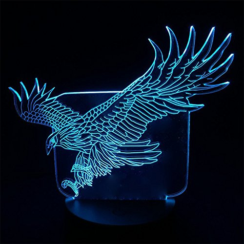 (Night Light Colorful Hawk 3D Cartoon Table Lamp for Office Hotel Bedroom Bar Touch Sensor)