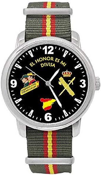 Reloj Guardia Civil Q&Q Correa Bandera España Verde Esfera Negra: Amazon.es: Relojes