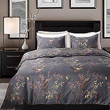 Cozyholy Luxury Royal style Duvet Cover Baroque Design Comforter Cover Vintage Bohemian Set Ultra Soft Zipper Colsure, 3 Pieces Bedding Set (Queen, Dark grey - luxury golden leaf pattern)