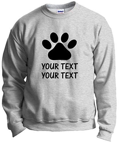 Personalized Dog T-Shirt Personalized Dog Cat Paw Your Custom Text Crewneck Sweatshirt Medium Ash (Personalized Dog T-shirts)