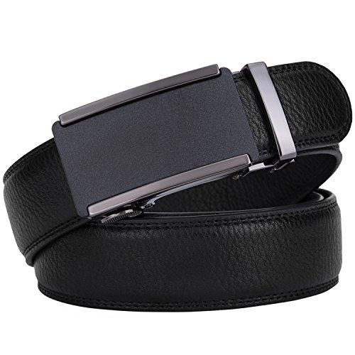 Men's belt,Prometheus New Solid Buckle Leather Ratchet Automatic Belt 35mm Wide 1 3/8