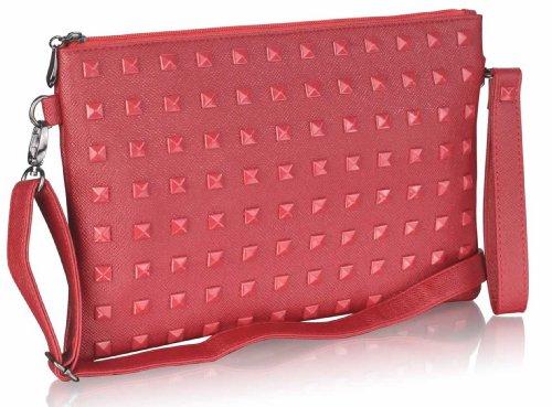 TrendStar - Cartera de mano para mujer Small rojo - Burgundy Studded Clutch Purse