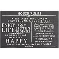 Chesapeake Merchandising 14388 House Rules Printed Typography Cotton Rug, 24 x 36, Charcoal