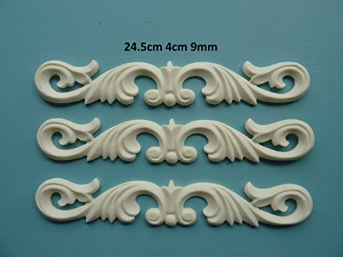 AC3 Decorative acanthus scroll centers x 3 applique onlay furniture moulding