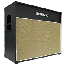 Seismic Audio-212 Guitar Speaker Cab Empty-7 Ply Birch-12-Inch Speakerless Cabinet-Vintage 2x12-Black Tolex-Wheat Cloth Grill-Front or Rear Loading Options