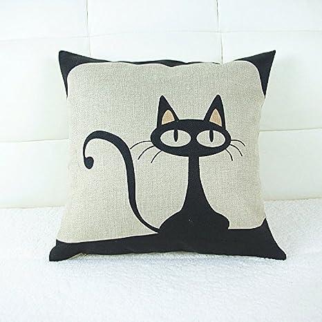 1 funda de cojín blanco y negro gato de dibujos animados ...