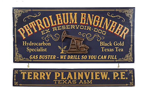 THOUSAND OAKS BARREL Petroleum Engineer Wood Plank Occupational Sign with Personalized Name Board