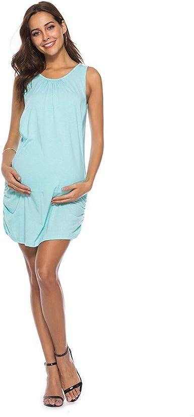Vestido de Maternidad para Mujer Moda Color Sólido Ropa premamá ...