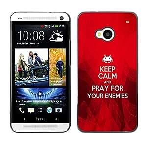 Paccase / Dura PC Caso Funda Carcasa de Protección para - BIBLE Keep Calm And Pray For Your Enemies - HTC One M7