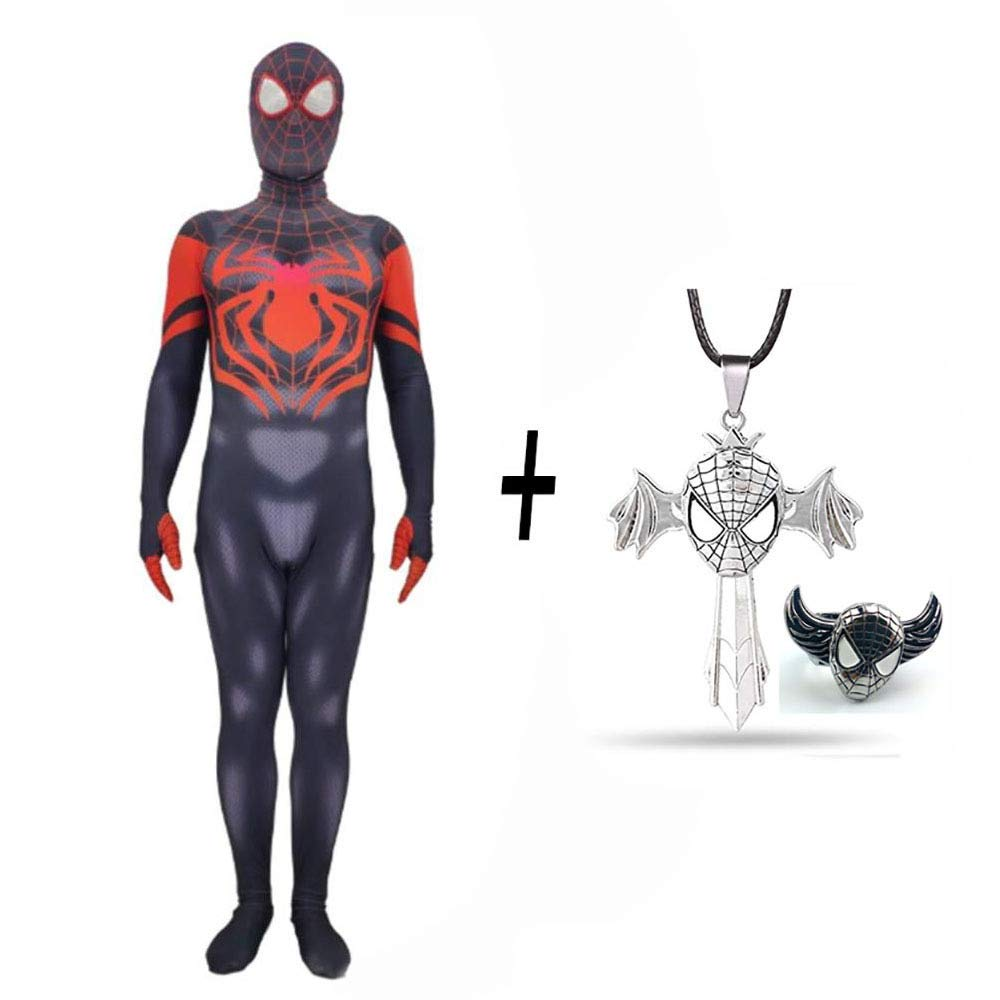 Ultimateadult XX-gree DSFGHE Ultimate Spideruomo 3D Collant Cosplay Cosplay Bambino Adulto Anime Fancy Btutti Party Natale Htuttioween + Collana E Anello Spideruomo,UltimateAdult-XXL