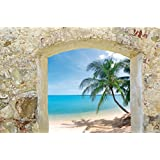 Posters: Beaches XXL Poster - Stone Wall With Splendid View To A Dream Beach (47 x 32 inches)