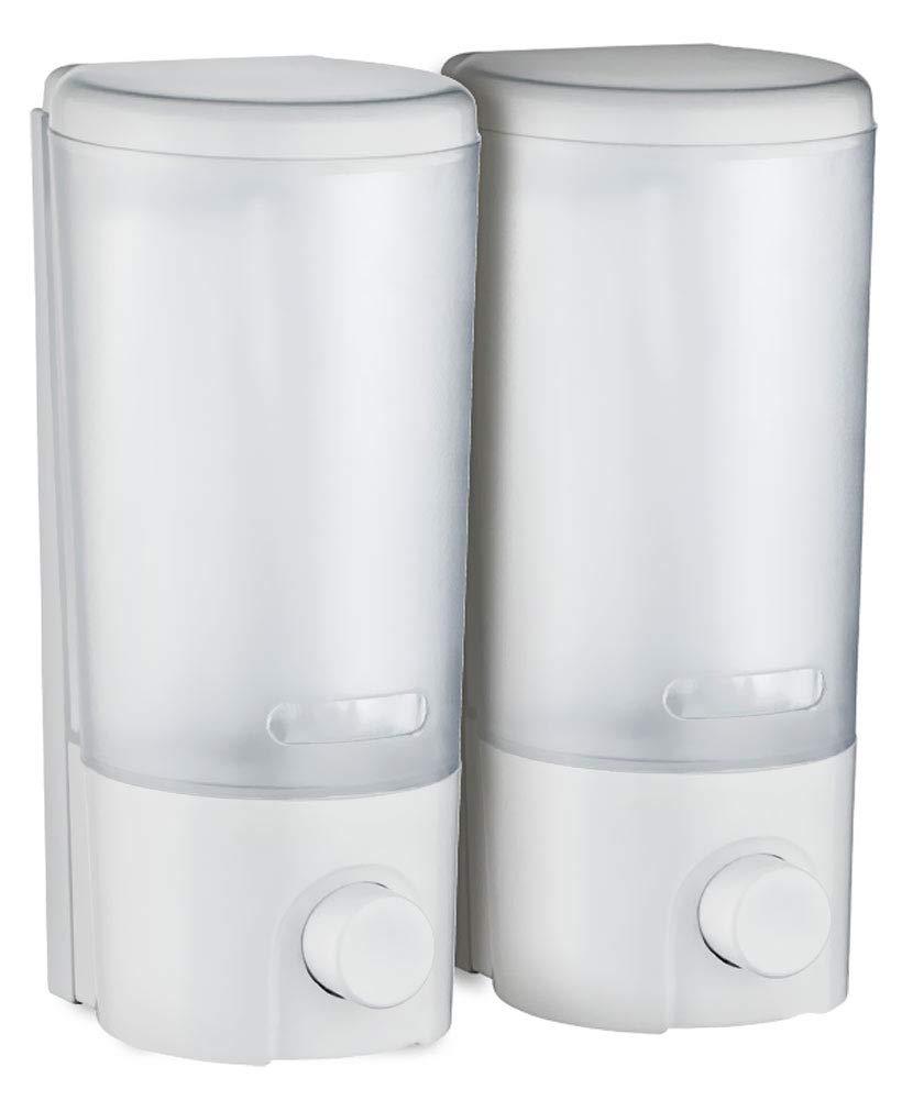 Doppio Dispenser di Sapone Bagno Doccia Cucina Montaggio a parete Bianco Sanlingo TSGPS