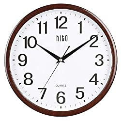 hito Silent Wall Clock Non ticking 12 inch Excellent Accurate Sweep Movement Glass Cover, Decorative for Kitchen, Living Room, Bathroom, Bedroom, Office, Classroom (12 inches, Wood Grain)