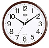 hito Silent Wall Clock Non ticking 12 inch Excellent Accurate Sweep Movement Glass Cover, Decorative for Kitchen, Living Room, Bathroom, Bedroom, Office, Classroom (12 inch, wood grain)
