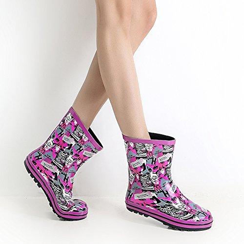 Mujeres Cute Print Prenda Impermeable Tire En Tobillo / Overknee Rain Bota Purple Y Letter Us Tamaño 9