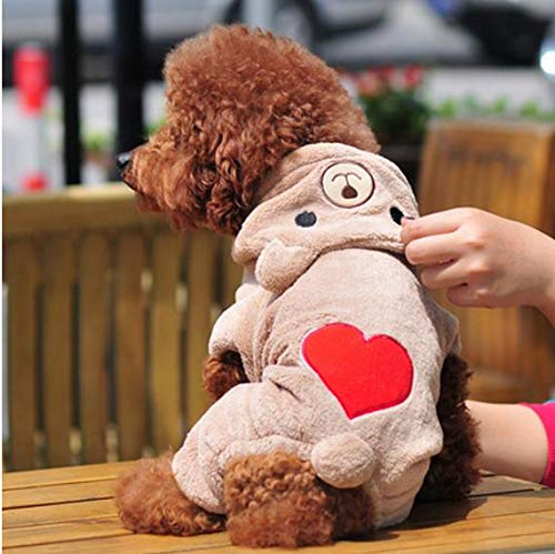 Cowmole Co. Fashion Bear Heart Dog Clothes for Small Dog Soft Fleece Pet Dog Clothing Yorkies Chihuahua Clothes Puppy Outfit Coat Hoodie ()