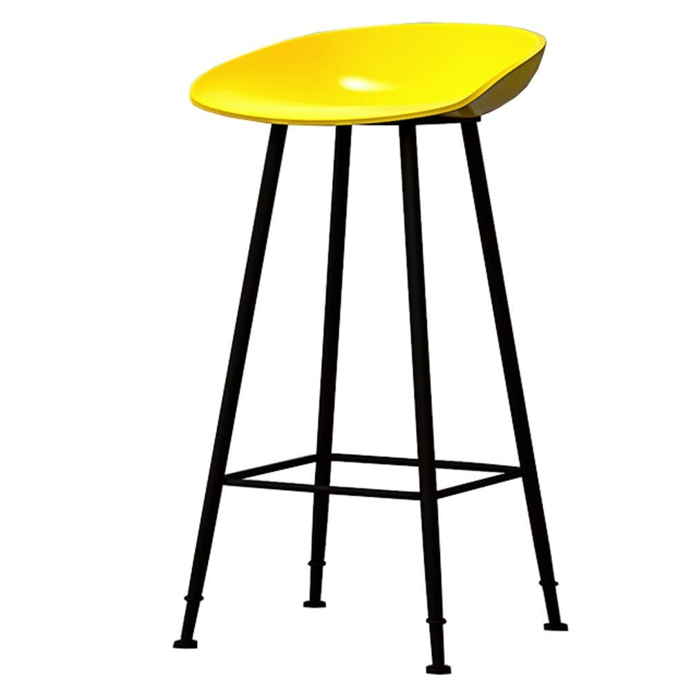 Yellow 65CM LJFYXZ Bar Stool Modern Simplicity Kitchen Breakfast Chair Ergonomic Design Black Metal Frame bar Chair High Stool Bearing Weight 150kg Multi-color Optional (color   Black, Size   65CM)