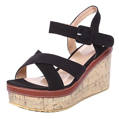 COOLCEPT Damen Solid Keilabsatz Sandalen Schuhe