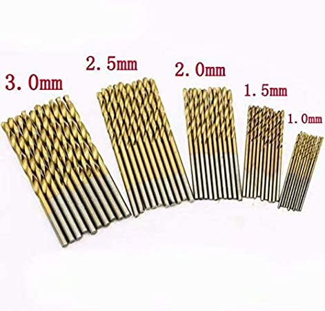 50pcs Twist Drill Set 1//1.5//2 3mm T/ête de Poign/ée Ronde Changement Rapide Forets Cobalt Set Multi Bits 2.5
