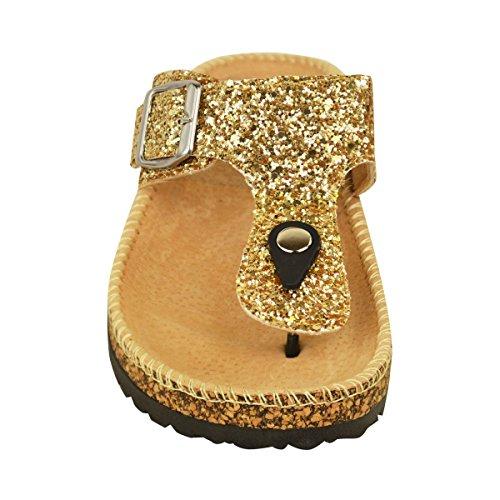 Mode Törstig Kvinna Platta Sandaler Glitter Flip Flops Slip På Tå Post Rem Grepp Storlek Guld Glitter