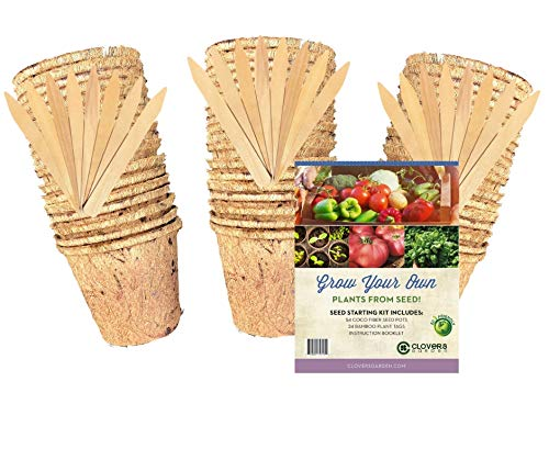 - 54 Coco Fiber Seed Starter Biodegradable Pots for Starting Tender Rooted Vegetables, Herbs, Plant Seedlings, Cuttings, Germination Transplanting - Includes 24 Wooden 6