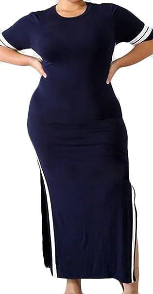 UUYUK-Women Double Slit Loose Spliced Short Sleeve Clubwear Plus ...
