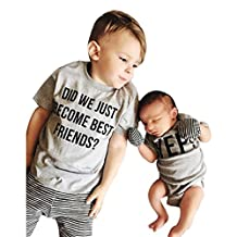 Sumen Toddler Kids Baby Boys Letter Brother Matching Clothes T shirt Tops Outfits