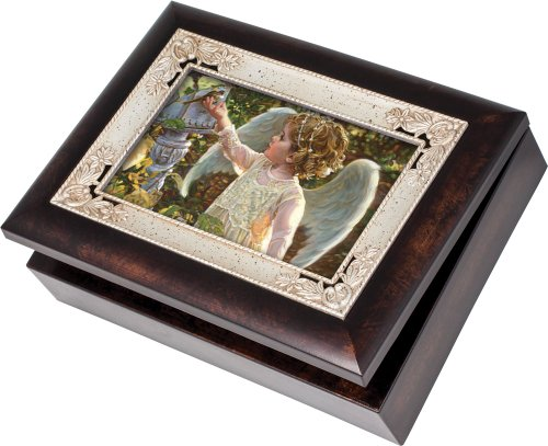 Angel Musical Jewelry Box - Painting of Child Angel in The Garden Burlwood Jewelry Music Box Plays Wind Beneath My Wings
