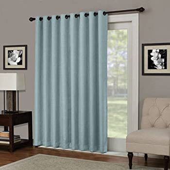 1 Piece 84 Inch Spa Solid Color Blackout Sliding Door Curtain, Blue Sliding  Patio Door