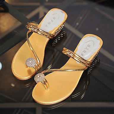 LvYuan Mujer-Tacón Bajo-Confort-Sandalias-Vestido Informal-PU-Plata Oro Gold
