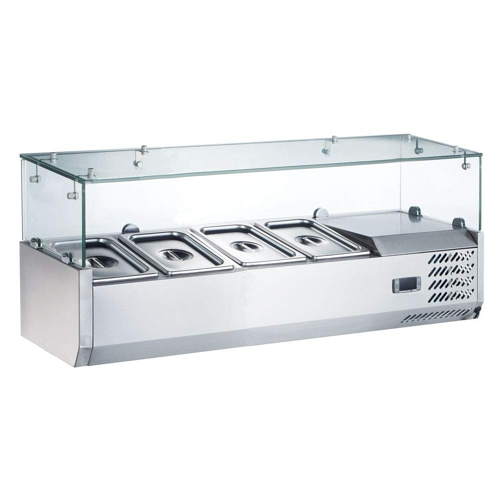 "Coldline VRX1200 48"" Refrigerated Countertop Salad Bar, Glass Topping Rail, 4 Pans"