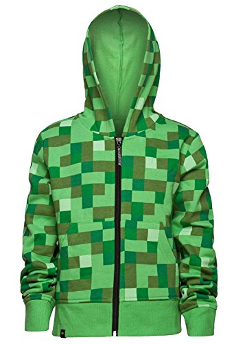 Minecraft Creeper No Face Premium Zip-Up Youth Hoodie (Youth Small, Green)